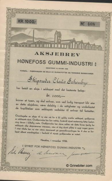 Hønefoss Gummi-Industri Stock Certificate Aksjebrev