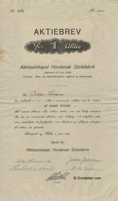 Hovdenak Stolefabrik Stock Certificate Aksjebrev