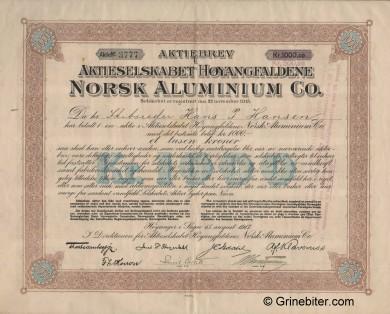 Høyangfaldene Norsk Aluminium Co. Stock Certificate Aksjebrev