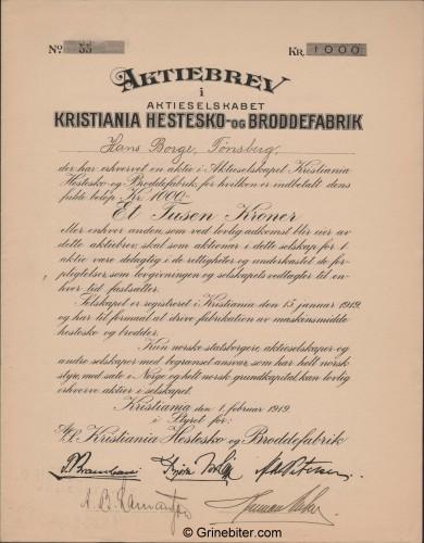Kristiania Hestesko- og Broddefabrik Stock Certificate Aksjebrev