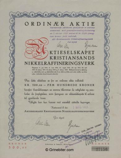 Kristiansands Nikkel-R V Stock Certificate Aksjebrev