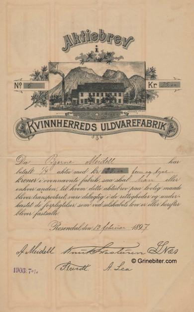 Kvinnherreds Uldvarefabrik Stock Certificate Aksjebrev
