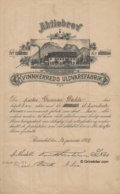 Kvinnherreds Uldvarefabrik aksjebrev old stock Certificate