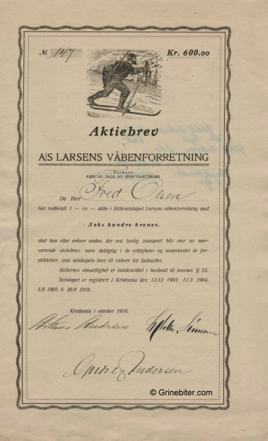 Larsens Våbenforretning Stock Certificate Aksjebrev