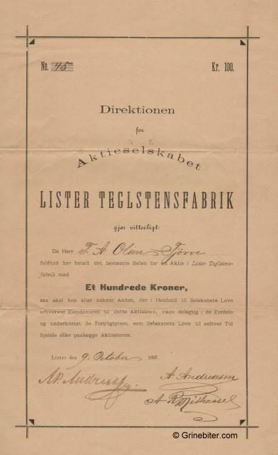 Lister Teglstensbabrik Stock Certificate Aksjebrev
