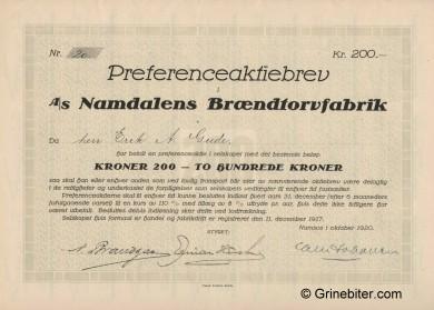 Namdalens Brændtorvfabrik Stock Certificate Aksjebrev