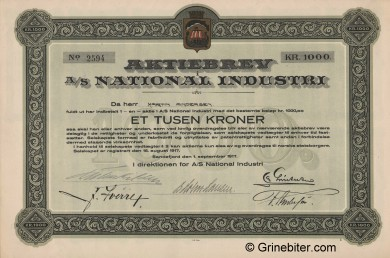 National Industri A/S Stock Certificate Aksjebrev