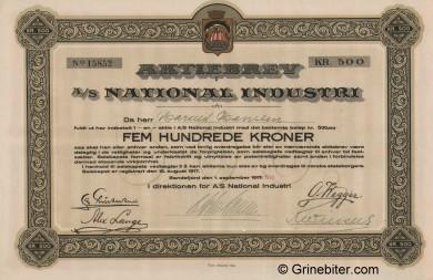 National Industri A/S Stock Certificate Aksjebrev