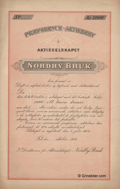 Nordby Bruk Stock Certificate Aksjebrev