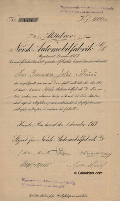 Norsk Automobilfabrik A/S Stock Certificate Aksjebrev