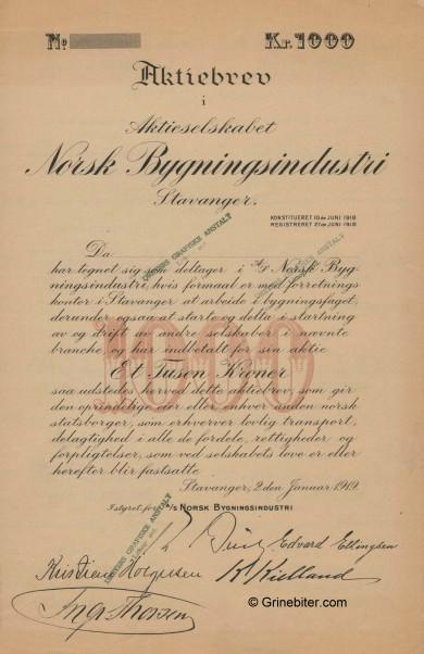 Norsk Bygningsindustri Stock Certificate Aksjebrev