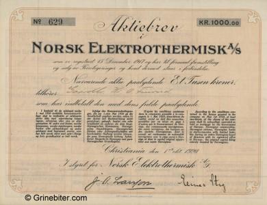 Norsk Elektrothermisk Stock Certificate Aksjebrev