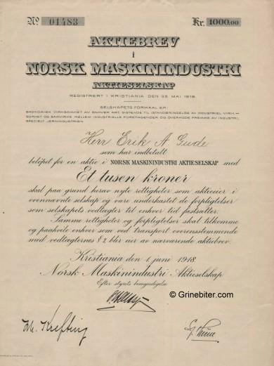 Norsk Maskinindustri Stock Certificate Aksjebrev