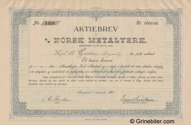 Norsk Metalverk A/S Stock Certificate Aksjebrev