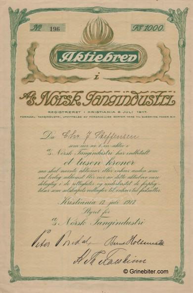 Norsk Tangindustri Stock Certificate Aksjebrev