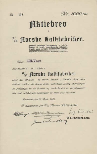 Norske Kalkfabriker A/S Stock Certificate Aksjebrev