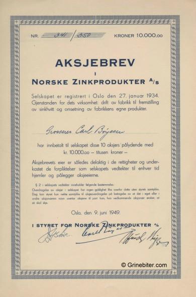 Norske Zinkprodukter A/S Stock Certificate Aksjebrev