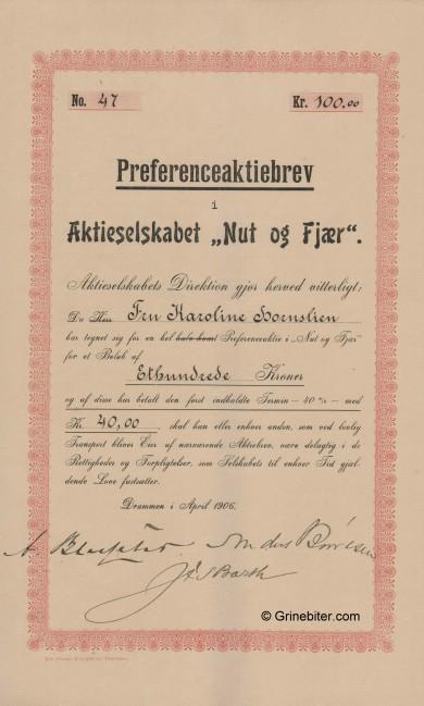 Nut og Fjær Stock Certificate Aksjebrev