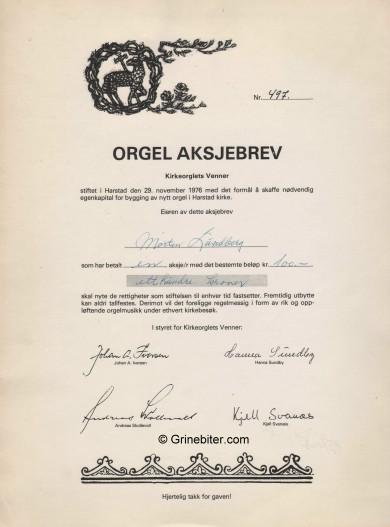 Orgel Aksjebrev Stock Certificate Aksjebrev