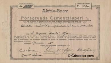 Porsgrunds Cementstøperi Stock Certificate Aksjebrev