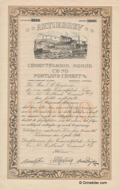 Portland Cement A/S Stock Certificate Aksjebrev