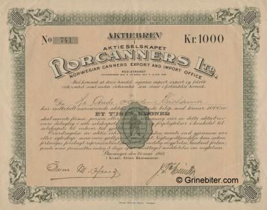 Rorcanners Ltd Stock Certificate Aksjebrev