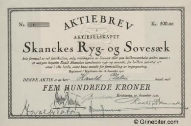 Skanckes Ryg & Sovesæk Stock Certificate Aksjebrev