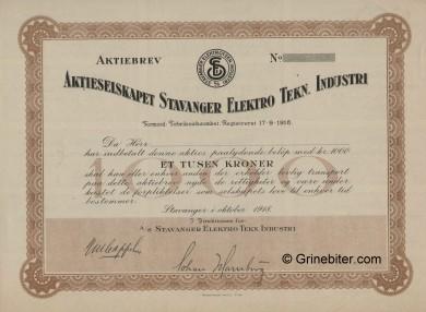 Stavanger Elektro Tekn. Industri Stock Certificate Aksjebrev