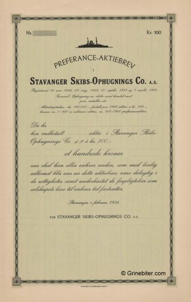 Stavanger Skibs-Ophugnings Co.  Stock Certificate Aksjebrev