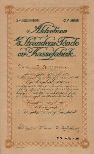 Strandens Tönde og Kassefabrik Stock Certificate Aksjebrev