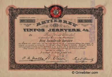 Tinfos Jernverk  Stock Certificate Aksjebrev