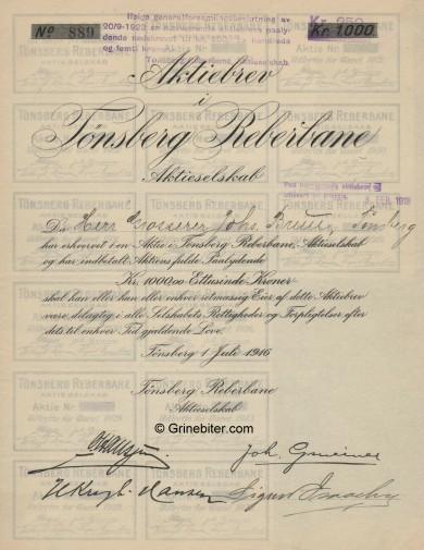 Tønsberg Reberbane A/S Stock Certificate Aksjebrev