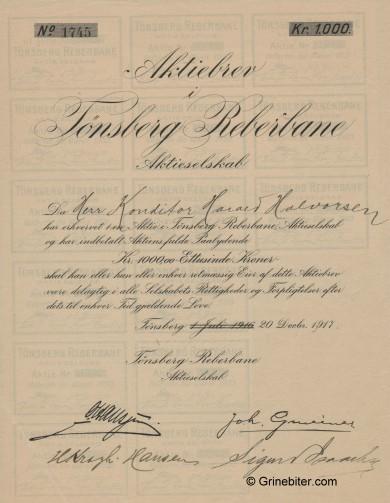 Tønsberg Reperbane aksjebrev old stock Certificate