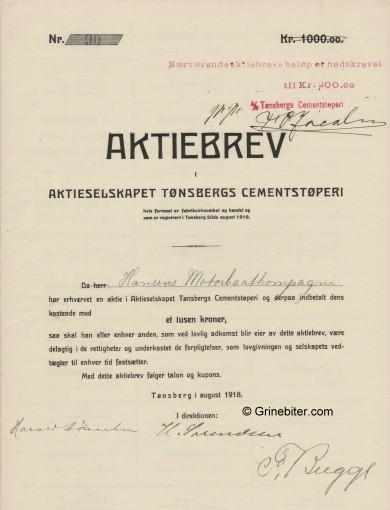 Tønsbergs Cementstøperi Stock Certificate Aksjebrev