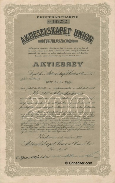 Union Co Stock Certificate Aksjebrev