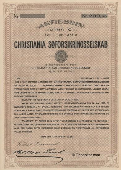 Christiania Søforsikingselskap Stock Certificate Aksjebrev