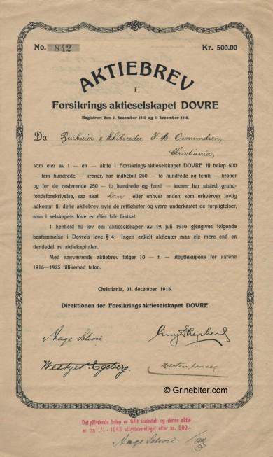 Dovre Forsikrings A/S Stock Certificate Aksjebrev