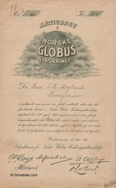 Norske Globus Forsikring Stock Certificate Aksjebrev