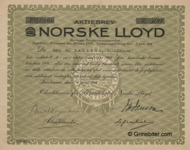 Norske Lloyd aksjebrev old stock Certificate