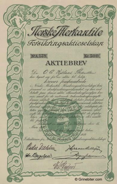 Norske Merkantile Forsik. Stock Certificate Aksjebrev
