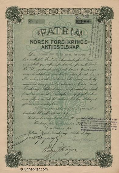 Patria Aksjebrev