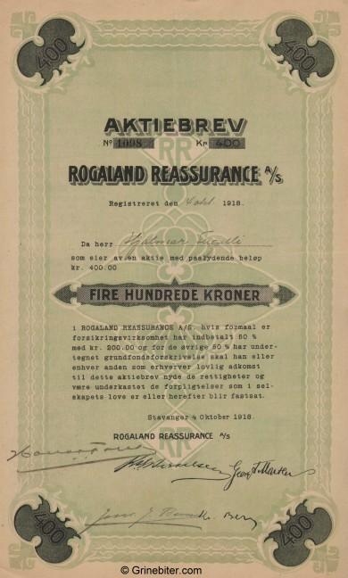 Rogaland Reassurance Stock Certificate Aksjebrev