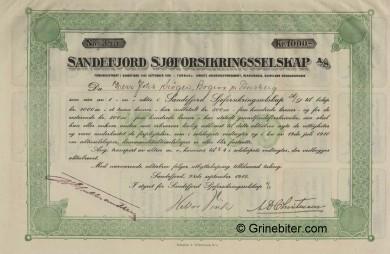 Sandefjord Sjøforsikring Stock Certificate Aksjebrev