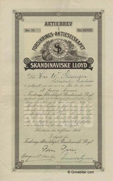 Skandinaviske Lloyd A/S Stock Certificate Aksjebrev