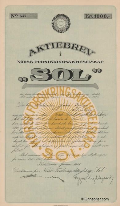 Sol Norsk Forsikrings A/S Stock Certificate Aksjebrev