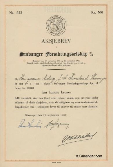 Stavanger Forsikrings A/S Stock Certificate Aksjebrev