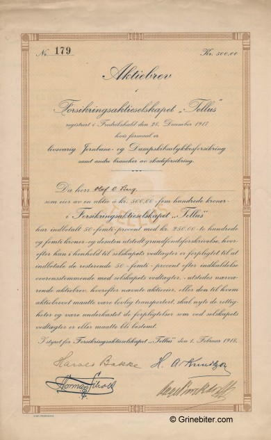 Tellus Forsikrings A/S Stock Certificate Aksjebrev