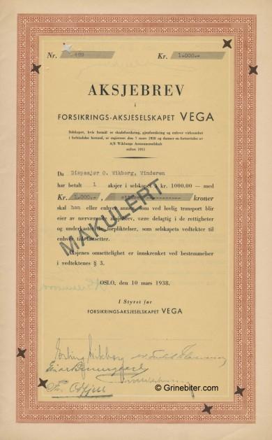 Vega ForsikringsA/S Stock Certificate Aksjebrev