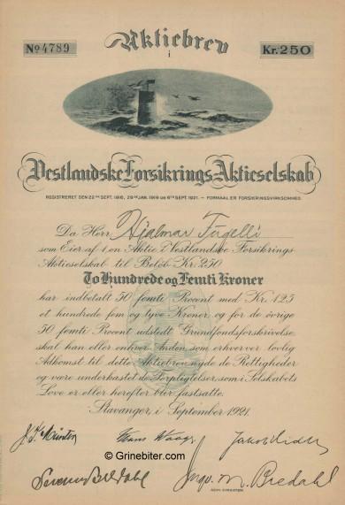 Vesstlandske Forsikr. A/S Stock Certificate Aksjebrev