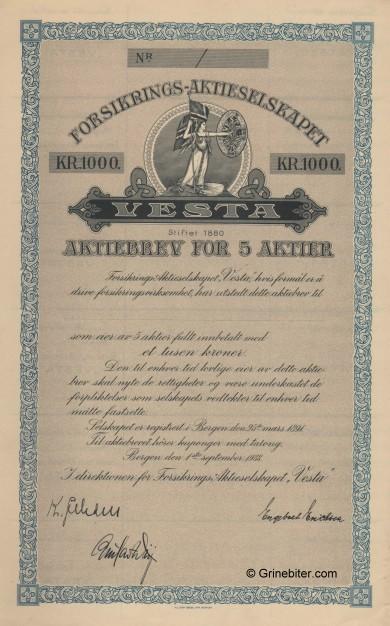 Vesta Forsikrings Aktieselskapet Stock Certificate Aksjebrev